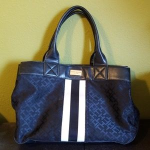 Tommy Hilfiger Monogram Jacquard Tote Purse Black